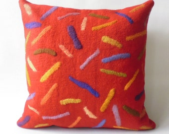 "Felt cushion ""Walls"" merino wool Handcraft, felt pillow handmade merino wool"