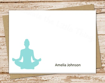 personalized yoga note cards . notecards . yoga meditation . folded cards . personalized stationery stationary . set of 8