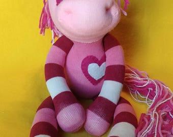 "Ela - 17"" Sock Unicorn Plush - Handmade Plush Doll"