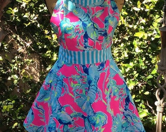 Lilly Pulitzer inspired apron Lobsters in Love