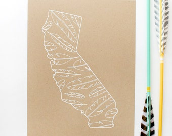 DISCONTINUED - California Screen Print - 8.5x11 - Feathers - original screen print - ooak - rustic - natural - white on kraft
