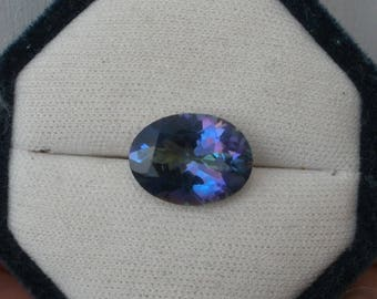 Rainbow Blue Mystic Quartz Oval Gem 16 x 12mm