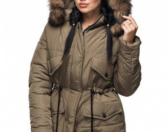Khaki Coat parka with Arctic Fox on the hood