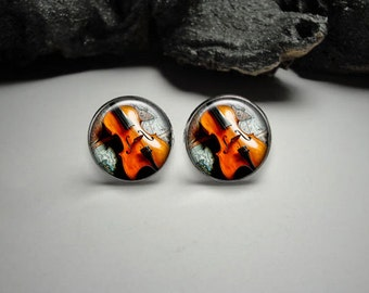 Violin Cuff Links, Musical Instrument Cuff links, Music Jewelry for Men, Gift for Him, Violin Cuff Links and Tie Clip Set