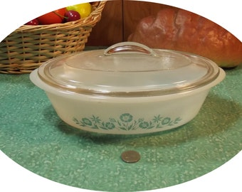 Nice Glasbake 1 Quart Green Flower Floral Oval Casserole Dish with Lid
