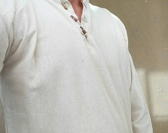 Men raw cotton lons sleeves shirts, mandarin neck with wood beads in the front and in different colors
