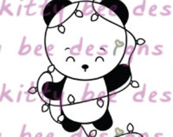 Christmas Lights Panda digitalen Stempel