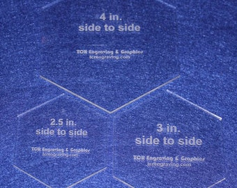 "3 Piece Hex Set 2 1/2 "",3"" ,4"" 1/8"" Clear Acrylic - Cut Width of Fabric Strips"