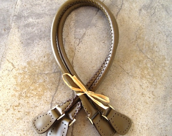 Genuine Leather Handles Handmade in Dark Olive Brown for Your  Handbag with Antique Brass D Rings