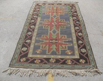 "green Kilim rug, 60"" x 108"", Vintage Turkish kilim rug, area rug, kilim rug, kelim rug, vintage rug, bohemian rug, Turkish rug, rug,"