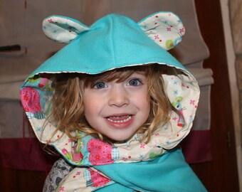 Beige fabric interior blue fleece scarf hood with ears