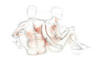 Nude pencil drawing with terracotta pastel. Life sketch. Male + Female. Standing or seated nude couple.  Art by Nancy Farmer. LD-09-2016&REV