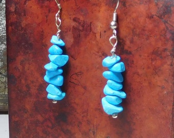 Turquoise Earrings Blue Chip Beads Southwest Bohemian Style Boho Hippie Jewelry Handmade Beaded Silver Ear Wires Drop Dangle Stacked
