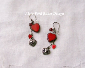Red Heart Earrings Dangles Charms Sterling Silver Earwires Sweetheart Valentine Gift