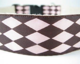 Pink and Brown Diamonds extra large hemp dog collar