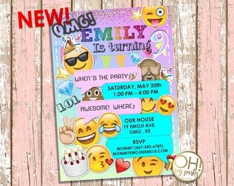 EMOJI Birthday Invitation, emoji invitation, emoji birthday, emoji party, emoji invitations, emoji invite, emoji, party emoji, emoji card