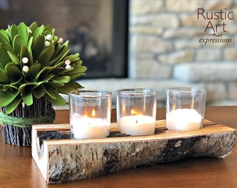 Reclaimed Birch | Rustic 3 Votive Candle Holder | Rustic Birch Centerpiece