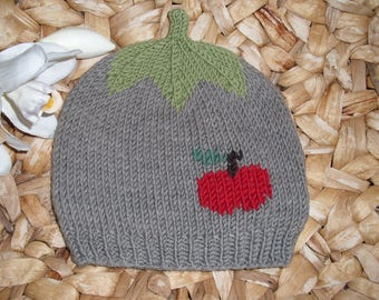 Apple Harvest 1: Baby and children's cap with red apple from 100% merino wool-in many sizes