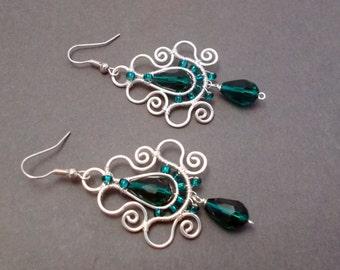 Emerald earrings, teardrop earrings in emerald, teardrop dangle earrings, emerald dangle earrings, wire wrapped emerald earrings