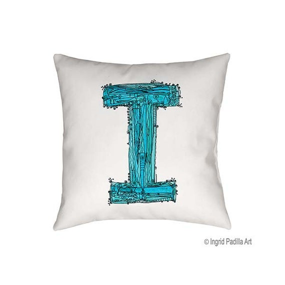 Whimsical, Letter, I, Pillow, Decorative, monogram pillow, Illustration, funky, typography, Alphabet, Art, Printed fabric, Ingrid Padilla