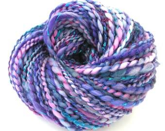 Handspun Hand Dyed Yarn Superwash Merino Wool Nylon Boucle Bulky Weight Yarn Chunky Art Yarn 157 yards Space Dyed Purple Blue - Ice Palace