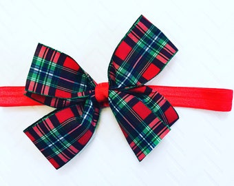 Red And Green Plaid Xmas Hair Bow, Christmas Hair Bows, Girls Holiday Hair Bows, Newborn Xmas Hair Bands, Infant Xmas Hair Bows