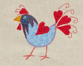 Floral Chicken Greeting Card - Blank - Any Occasion - Folk Art Chicken