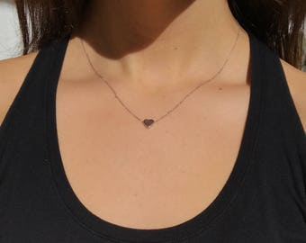 Sterling Silver & Gold Dainty Tiny Heart Necklace
