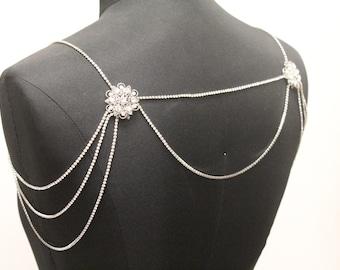 Bridal Rhinestone Necklace Crystal Necklace Shoulder Necklace Wedding Jewelry Bridal Jewelry Wedding Dress Accessory Rhinestone necklace