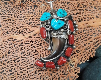 Sterling silver native American old pawn turquoise-coral artist signed