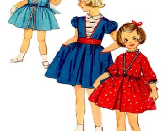 1960 Size 4 Simplicity Pattern 3179 Girls Dress Sewing Pattern Supply Mod 60s Girls Dress Pattern Waisted Dress with V Insert at Front