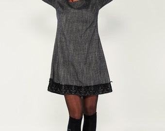 Lace Dress, Shirt Dress, Short Dress, Day Dress, Hippie Dress, Wool Dress, Casual Dress, Spring Dress, Grey Dress, Ladies Dress, Cute Dress