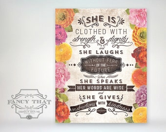 8x10 art print - Proverbs 31 - Vintage Inspired, Aged Floral Typography Poster Print - She Is...Scripture Bible Verse / Mother's Day gift
