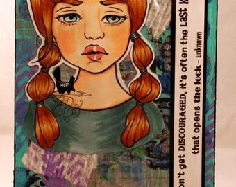 Mixed media handmade postcard, encouragement, thinking of you