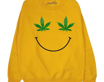 Weed Leaf Smiley Face Sweatshirt ∘ 70s ∘ Retro ∘ 90s ∘ Pot Marijauna Cannabis Sweater ∘ Jumper