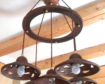 Ceramic chandelier with five lamp shades