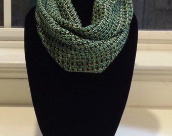Navy / Turquoise / Gold / Yellow Plaid Woven Infinty Scarf