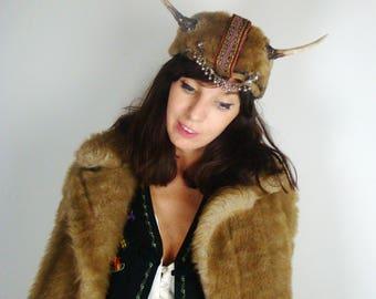 Bespoke Naturally Dropped Deer Antler Russian Hat HeadPiece Headdress Sheepskin Indigenous Trim Costume Woodland Creature Fawn Doe Unique
