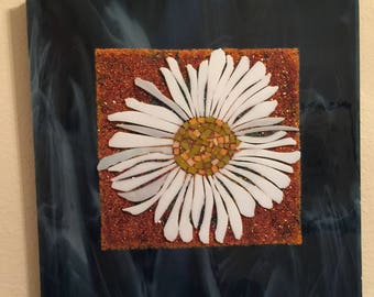 """12x12"""" Stained Glass Mosaic Daisy"""