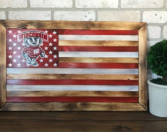 University of Wisconsin wooden flag wall hanging - customizable