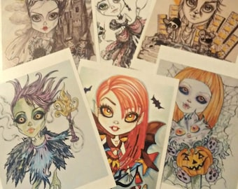 5 x 7 Horror  Halloween Fantasy Lowbrow Art Print (Your Choice) by Leslie Mehl