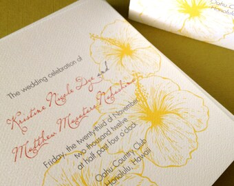 Vintage Hawaiian- wedding program,set of 40, destination wedding, tropical invitation, floral, wedding ceremony