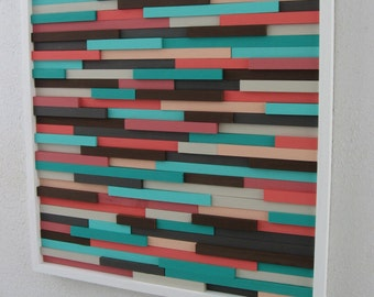Turquoise and Coral - Wood Wall Art Sculpture