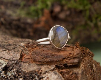 Labradorite Ring, Sterling Silver
