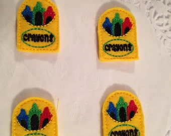 Yellow Felt Mini Crayon Box Applique-Set of 4