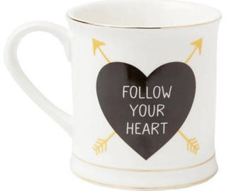 Follow your heart arrow heart mug