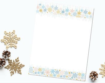 "Pink Blue and Gold Snowflakes  8.5""x11"" Letter Sized Stationery, Instant Download High Resolution 300 dpi Jpeg and PDF Files, DIY Printable"