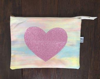 Sparkly heart zipper pouch