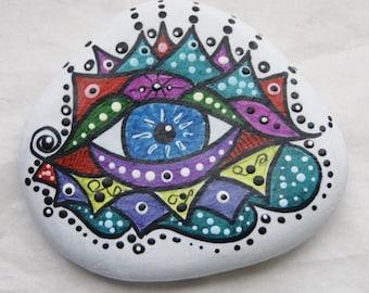 Painted Rock Art, Eye,  Paper Weight, Desk Art, Great Lakes Beach Rock