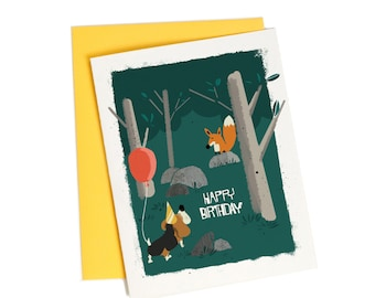 Sweet Birthday Card for Friend, Fox and Hound Dog Birthday Greeting Card
